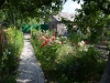 Üppiger Rosengarten